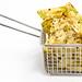 Nahaufnahme von bunten, veganen Chips