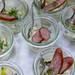Small jars with Tyrolean smoked sausage on apple and leek salad at the BarCamp Bonn