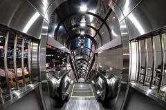 (B Lucava) Tags: tokyo shinjuku escalator metallic fisheye geometric samyang 8mm symmetry reflection