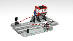 7866 Level Crossing With Electric Gates - Stud.io (RS 1990) Tags: lego classic 12v trains railway studio 3d rendering povray 7866 levelcrossing