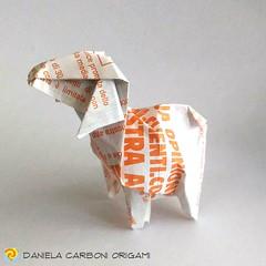 """""""Agnello""""  Modello creato nei giorni scorsi. Carta """"riciclata"""", volantino pubblicitario, rettangolo 15cm x 7,5cm ------------------------------------------- """"Lamb""""  Model created in the last days. """"Recycled"""" paper, advertisement flyer, rectangle 15cm x 7, (Nocciola_) Tags: lamb paperart cartapiegata agnello createdandfolded papiroflexia paperfolding originaldesign danielacarboniorigami paper origami"""