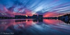 Mirror Pano (kud4ipad) Tags: goldenisles hallandale cityscape lake sunset blue sky building boat reflection cloud
