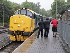 Return of the class 37s to the Rhymney Valley: 37418 at Rhymney (Dai Lygad) Tags: class37 37 37418 17june 17thjune 2019 transportforwales rhymneyvalley rhymneytocardiffcentral railways railroads trains photos photographs pictures images locohauled engines britishrail 2f100743rhymneytocardiffcentral geotagged uk wales southwales jeremysegrott flickr stock