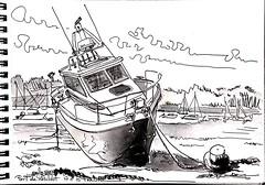 Port de Lanildut,  marée basse (Croctoo) Tags: croquis bateau port bretagne aquarelle watercolor breizh sketch croctoofr croctoo
