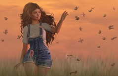 If something as frail as a butterfly can emerge from the darkness, so can you. (Aleriah.) Tags: alirium anlar anc butterfly denim field jumpsuit osmia secondlife sl summer tshirt tableauvivant uber virtualfashion virtualgirls