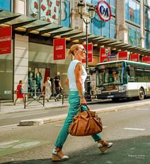 Street - La Parisienne (François Escriva) Tags: street streetphotography paris france people candid olympus omd photo rue woman colors sidewalk cute beautiful class smart sunglasses parisian fashion mode ca red green bag brown store bus sun walk
