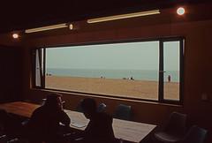 the conversation (doggle) Tags: brighton slide olympusom2n fujichromevelvia50 colourpositive olympuszuiko28mmf35 beach silhouette shingle volksrailway