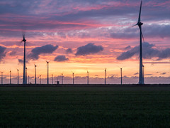 Wind turbines and Windmill (Eddy Bakker Photography) Tags: windmill windturbines turbines landscape nature sunset clouds