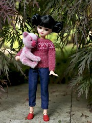 Out for a walk (Jay Bird Finnigan) Tags: licca castle repro gen1 1stgen overalls knitting obitsu ob11 miniature dollclothes sewing fairisle icelandic bear teddy