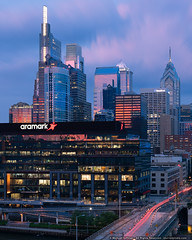 Philly Sunset (mhoffman1) Tags: aramark centercity chestnutst ciragreen comcastcenter comcasttechnologycenter libertyplace philadelphia philly sonyalpha city cityscape downtown longexposure sunset pennsylvania unitedstatesofamerica