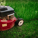 Mowing grass with a professional mower