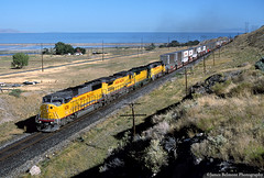 APL at Lake Point (jamesbelmont) Tags: unionpacific chicagonorthwestern emd sd60m gp50 sd402 ge c408 lakepoint utah tooelevalley greatsaltlake lynndylsubdivision westernpacific interstate80 americanpresidentlines apla6z containers stacks train railroad railway locomotive