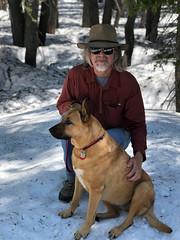 Bella and me (simonov) Tags: bella dog hund chien 狗 σκύλοσ madra cane 犬 perro 개 سگ собака الكلب germansheprador snow winter tahoe meadow forest mountains man simonov akubra
