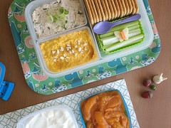 Bento 685 (Sandwood.) Tags: bento lunch lunchbox cooking food meal dish dip spread tray moomin totoro compote pescetarian snack crackers yoghurt