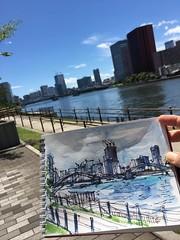 Tsukishima riverside view (kumi matsukawa) Tags: uskjapan usk sketch tsukishima tsukudajima
