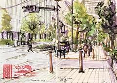 Tsukudajima street scene (kumi matsukawa) Tags: uskjapan usk sketch tsukishima tsukudajima