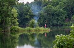 The Joys Of Summer - Hyland Park Reserve (j-rye) Tags: campfire fishing lake shoreline smoke trees water sonyalpha sonya7rm2 ilce7rm2 mirrorless hylandparkreserve lkg summer tranquil calm restful pleasant quiet still green