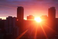 Sunrise Magic (Katrin Ray) Tags: sunrisemagic sunrisemagicrays goodmorning sun sunrise star rays clouds blue pink purple golden peach orange yellow june skyline skyscraper silhouette downtown toronto ontario canada katrinray dreamscapesoftoronto sooc canon eos rebel t6i 750d
