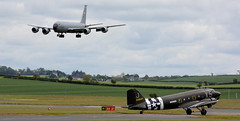 "N62CC ""Virginia Ann"" Douglas DC-3-C-47A-DL holds for departure to Duxford as the USAF KC135 lands at Prestwick. 27/5/19. (BS Images.) Tags: dakota daksovernormandy douglas aircraft airport aviation ayrshire egpk glasgowprestwick gpa prestwick prestwickairport pik southayrshire scotland"