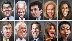 Democratic Primary Debate Participants June 27, 2019 (DonkeyHotey) Tags: democratic democrats dnc 2020 president primary debate june27 2019 michaelbennet josephbiden peterbuttigieg kirstengillibrand kamalaharris johnhickenlooper bernardsanders ericswalwell andrewyang mariannewilliamson donkeyhotey photoshop caricature cartoon face politics political photo manipulation photomanipulation commentary politicalcommentary campaign politician caricatura karikatuur karikatur