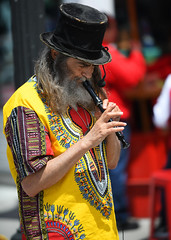 Pied Piper (Anthony Mark Images) Tags: people portrait candid streetphotography busker streetmuscian tophat colourfulshirt male longhair beard musician recorder bywardmarket ontario ottawa canada minstrel piedpiper 1960sshirt flickrclickx nikon d850