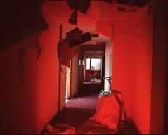 (✞bens▲n) Tags: mamiya 7ii velvia 100f 80mm f4 film analogue 6x7 haikyo abandoned building hotel hallway red
