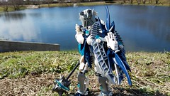Bionicle Lore M.O.C. - Toa Helryx, The First Toa of Water (Makuta Alvarez) Tags: toa bionicle lego moc blue white water tidal ocean lake mace shield order mata nui first kanohi