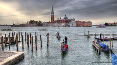 San Giorgio Maggiore (Jan Kranendonk) Tags: venice italy itailan european water river houses buildings europe historical culture boats boating landmark tower church sanmarco sea gondola gondolier sangiorgiomaggiore island men tourists people cloudy hdr