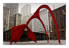 Flamingo (Jean-Louis DUMAS) Tags: architecture architect architecte architectural architecturale bâtiment building reflets reflecting reflections immeuble buildiing colors chicago sony hiver winter neige noël christmas sculpture city sculpteur red rouge