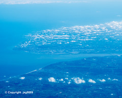 Mouth of the Seine River into the English Channel, Le Havre - Honfleur, France (jag9889) Tags: 2019 20190617 aerialview aircraft airliner airplane englishchannel europe fr fluss france frankreich landscape lehavre outdoor river seine wasser water waterway jag9889