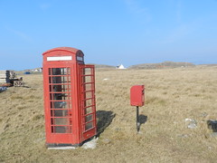 Red Phonebox and Red letterbox, Sanna Bay, Lochaber, Mar 2015 (allanmaciver) Tags: red phone box letter royal mail post office british telecom iconic communication locaber scotland sanna bay allanmaciver