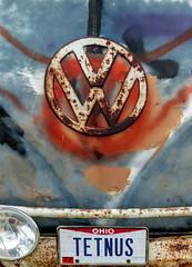 """TETNUS"" (J Wells S) Tags: vw hoodornament logo emblem volkswagen rust rusty crusty junk tetnus licenceplate foglight bumper aths ohiovintagetruckjamboree ashlandcountyfairgrounds ashland ohio tetanus"