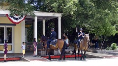 Girl and the Police Horse (_thao) Tags: sacramento oldsacramento western oldwest horse policehorse police curiosity