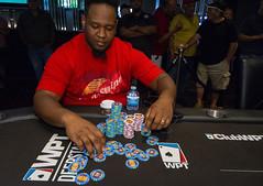 Fabian Foster rakes in chips (World Poker Tour) Tags: worldpokertour deepstacks wpt poker seminolehardrocktampa season18 2019 tampa fl usa