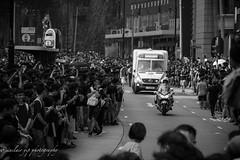 ambulance crossing in crowd (yipsinclair) Tags: hongkonginmyeyes hongkong streetphotography snap street fujixphotography fujifilm fujix blackwhite bw monochrome city urban 616