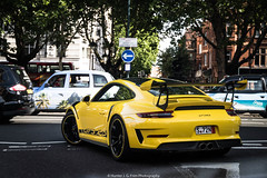 Spec (Hunter J. G. Frim Photography) Tags: supercar london porsche 911 gt3 rs gt3rs 9912 speed yellow german weissach carbon coupe wing i6 porsche911gt3rs