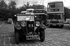 Vintage Riley (Gerry Hat Trick) Tags: bury transport museum elr eastlancsrailway castlecroft vintage motor car blackwhite blackandwhite mono lancashire cobbled panasonic gx1 m43 lj7170 monaco saloon skiladymascot