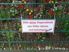 Sabotage. Professionell gemacht. (remember moments) Tags: dietmarvollmer köln cologne sign flowers fence zaun baumscheibe typography sabotage d k