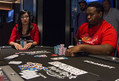 Wendy Vo contemplates as Fabian Foster moves all in (World Poker Tour) Tags: worldpokertour deepstacks wpt poker seminolehardrocktampa season18 2019 tampa fl usa