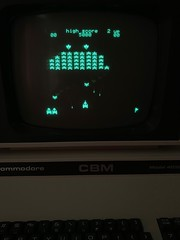 HAL PCG Galaxians running on Commodore PET using a multi Rom character Rom board (Andy_Grady) Tags: pet commodore galaxians