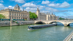 Paris- Barge on River Seine (Gilama Mill) Tags: travel landscape landscapes holidays sony18105 sonya6300 street people paris france biuldings building seine river barge