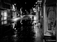 The Pool (Rollingstone1) Tags: dumbarton town towncentre window street highstreet lights streetlamp water flood buildings reflections night bw mono art artwork