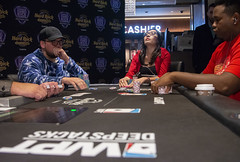 Wendy Vo contemplates Fabian's all in bet (World Poker Tour) Tags: worldpokertour deepstacks wpt poker seminolehardrocktampa season18 2019 tampa fl usa