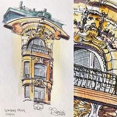Lombard Odier - wunderschönes Gebäude mit verspielten Details - perfekt zum Sketchen. (prisi_aroundtheworld) Tags: kunst art switzerland schweiz zürich aquarell zeichnung sketcher sketching sketch
