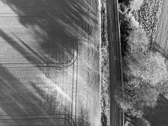Aerial Snow (MilkWoodPhotography) Tags: drone dji mavic black white monochrome field farming tractor tracks country lane
