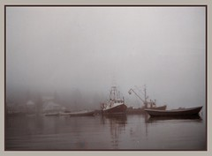 Fishing boats, New Harbor, Maine (C r u s a d e r) Tags: fog fishingboats harbor cove atlantic newharbor mained me water peaceful maine monotone