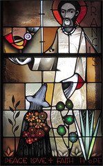 Peace Love Faith Hope (ioensis) Tags: saintfrancis saintjohns catholic parish romancatholicchurchstained glass faith love peace hope flowers dogs birds june 2019 jdl ioensis houghton iowa 07760001906131b©johnlangholz2019
