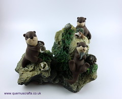 Four Little Otters on Rocks (Quernus Crafts) Tags: polymerclay quernuscrafts cute otters playingotters rocks shells charity cobi