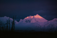 Distant Crystal Peaks (Atmospherics) Tags: dusklight twilight arcticsky bluenight lowlight arcticcolour pinkdusk duskcolour wintercolour mountainscape atmospherics northernnorway arcticnorway mountainpeaks fjordlight