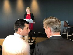 "Rep. Beyer with Pete Buttigieg at DemBiz meeting • <a style=""font-size:0.8em;"" href=""http://www.flickr.com/photos/117301827@N08/48081973377/"" target=""_blank"">View on Flickr</a>"